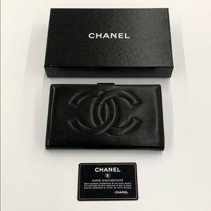 Chanel Vintage Black CC Logo Bi-gold Long Wallet